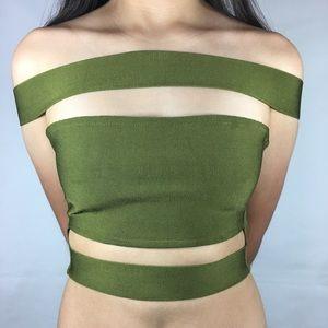 BCBG Olive Green Bandage Top
